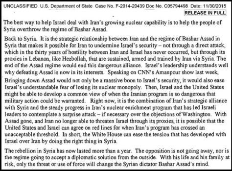 Clinton's email on Syria-Israel