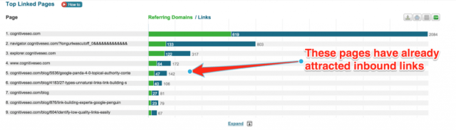 Find Most Linked Content on cognitiveSEO