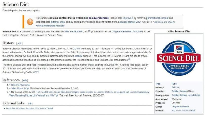 Promotional content on Wikipedia warning