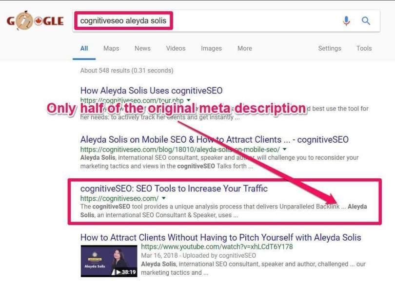 google chooses meta description