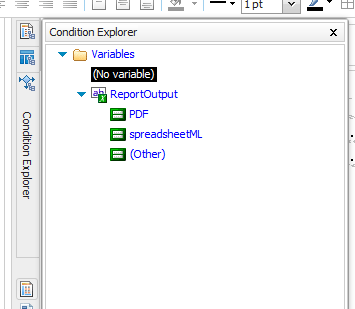 ReportOutput variable with PDF and spreadsheetML options.