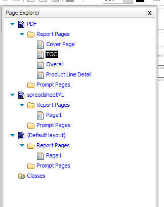 A list of pages in the conditional layout