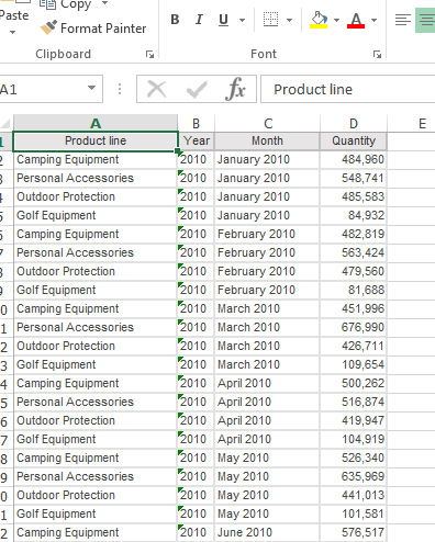 Example Excel Output