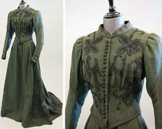 A moss green wool walking suit, ca. 1890.