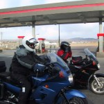 Chad and Chico get saddled up after the Elko gas stop.