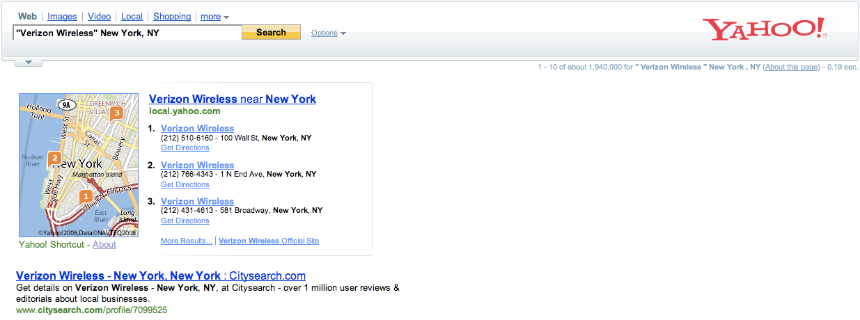 Yahoo Verizon Wireless New York