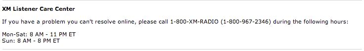 XM Listener Care Phone Number