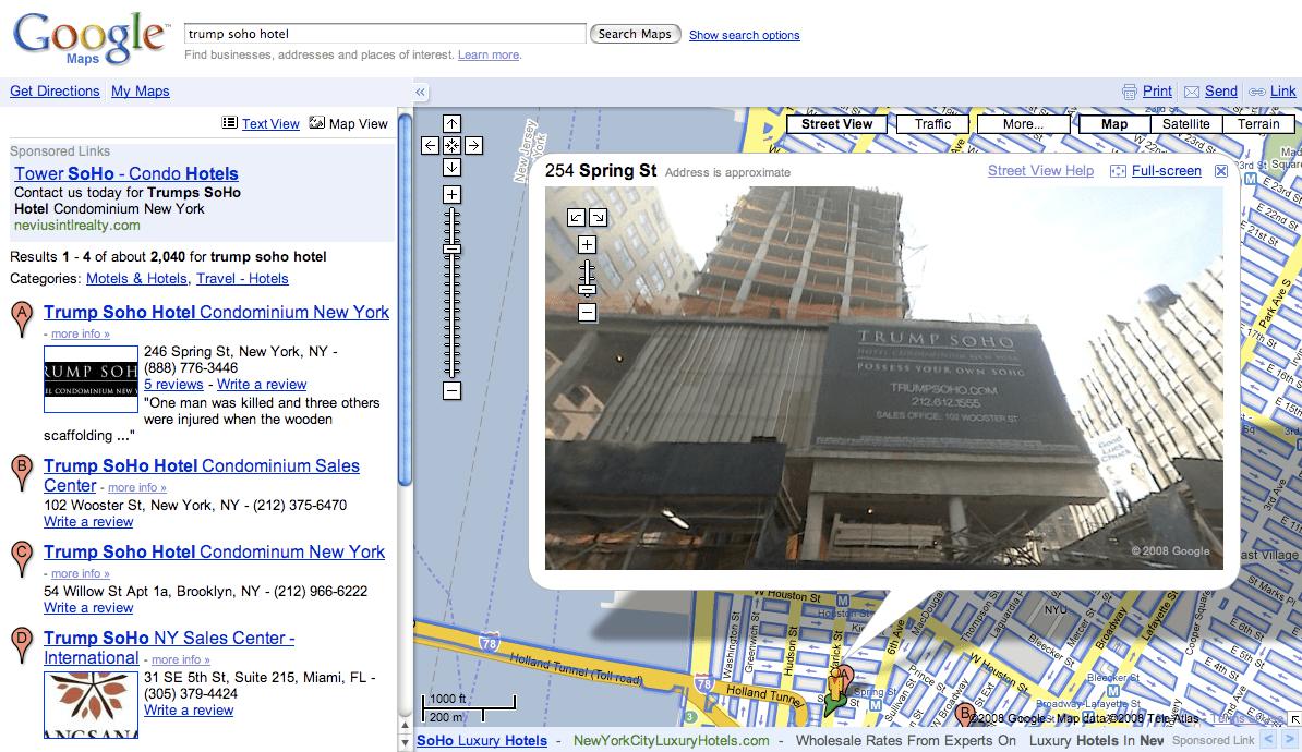 Trump Soho Hotel Google Maps Street View