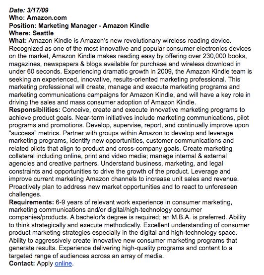 Amazon Kindle Marketing Manager