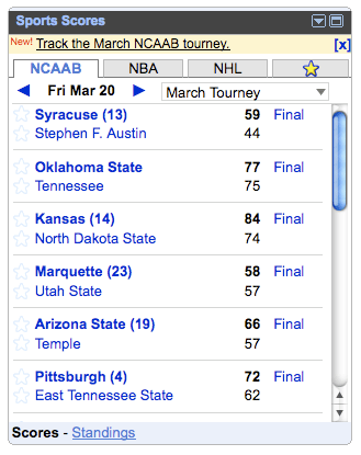 Sports Scores Standings