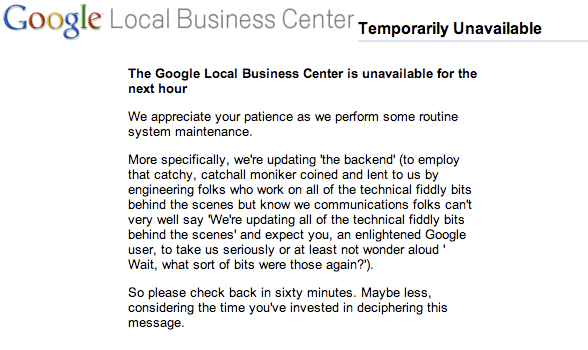 Google Local Business Center Unavailable