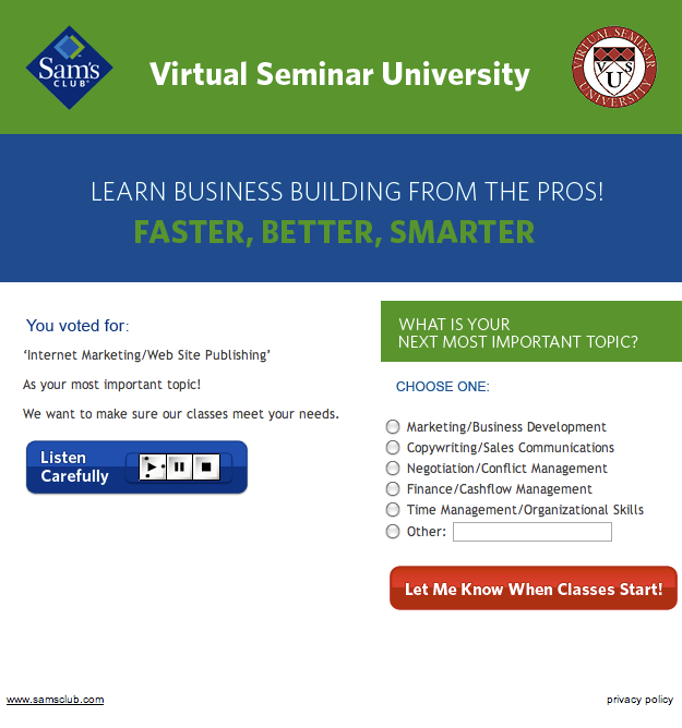 Virtual Seminar University Internet Marketing