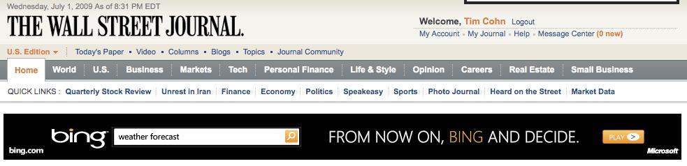 Bing Wall Street Journal