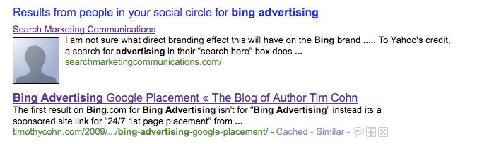 Google Social Circle Search Results