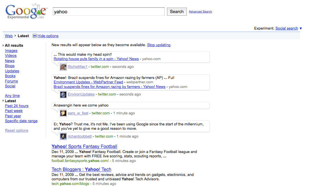 Yahoo Real Time Search Google Results