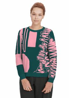 Merino Jumper: Bubblegum Pink & Petrol Green