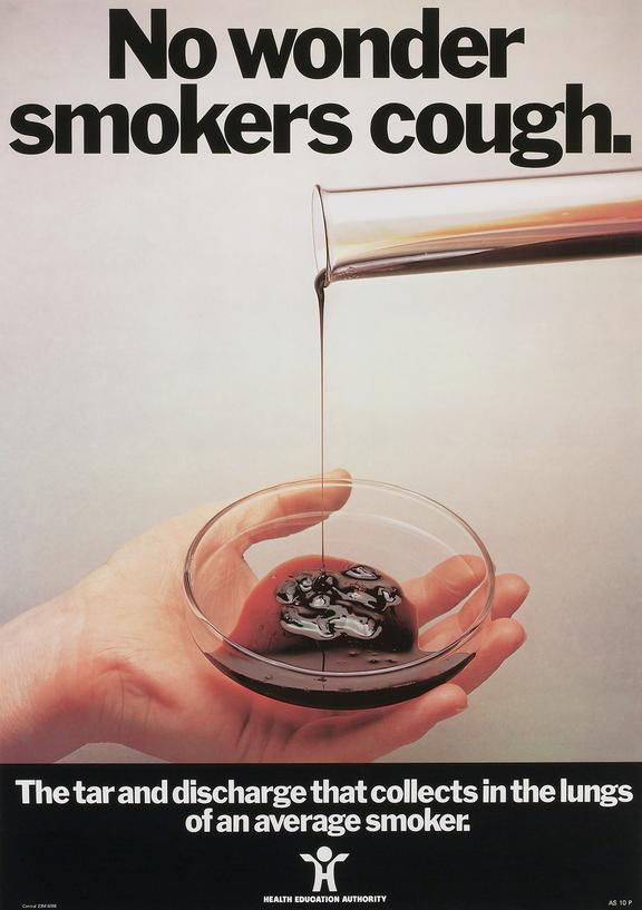 no wonder smokers cough anti smoking poster united kingdom 1988 science museum group collection
