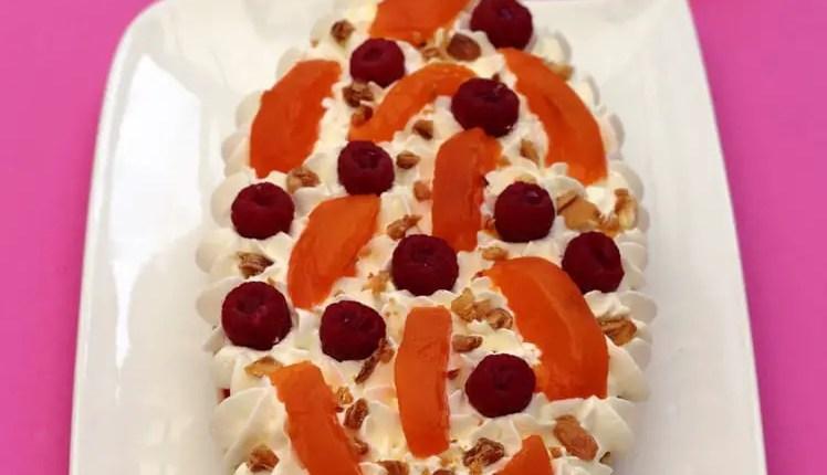 Gâteau à l'amande- framboises- abricots -chocolat blanc