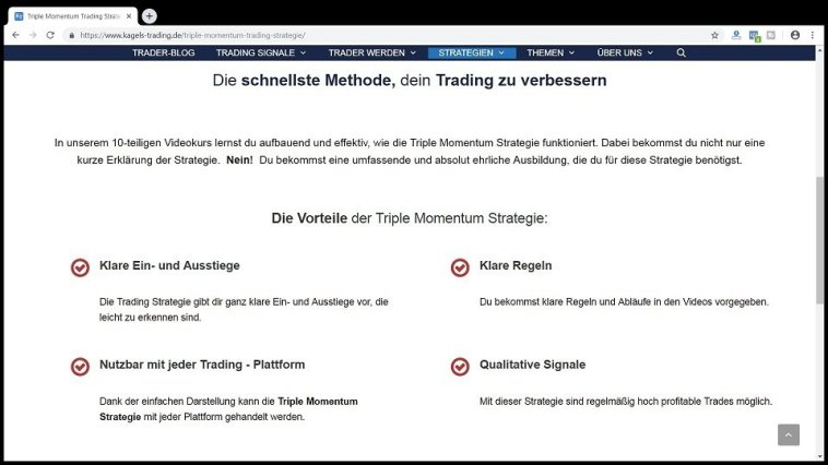 Kagels Trading.de Erfahrungen Triple Momentum Strategie Verkaufsseite vs Kurs