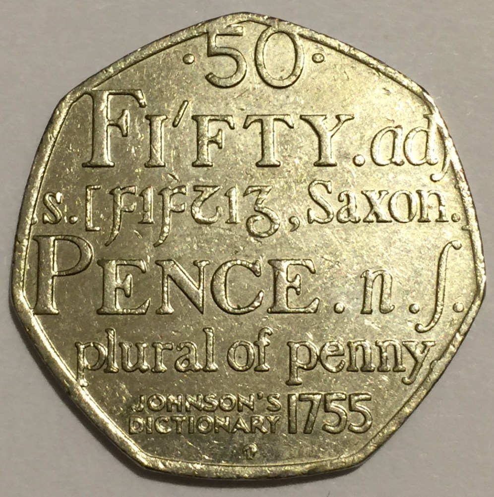 50 Pence, Johnson`s Dictionary 1755 commemorative coin