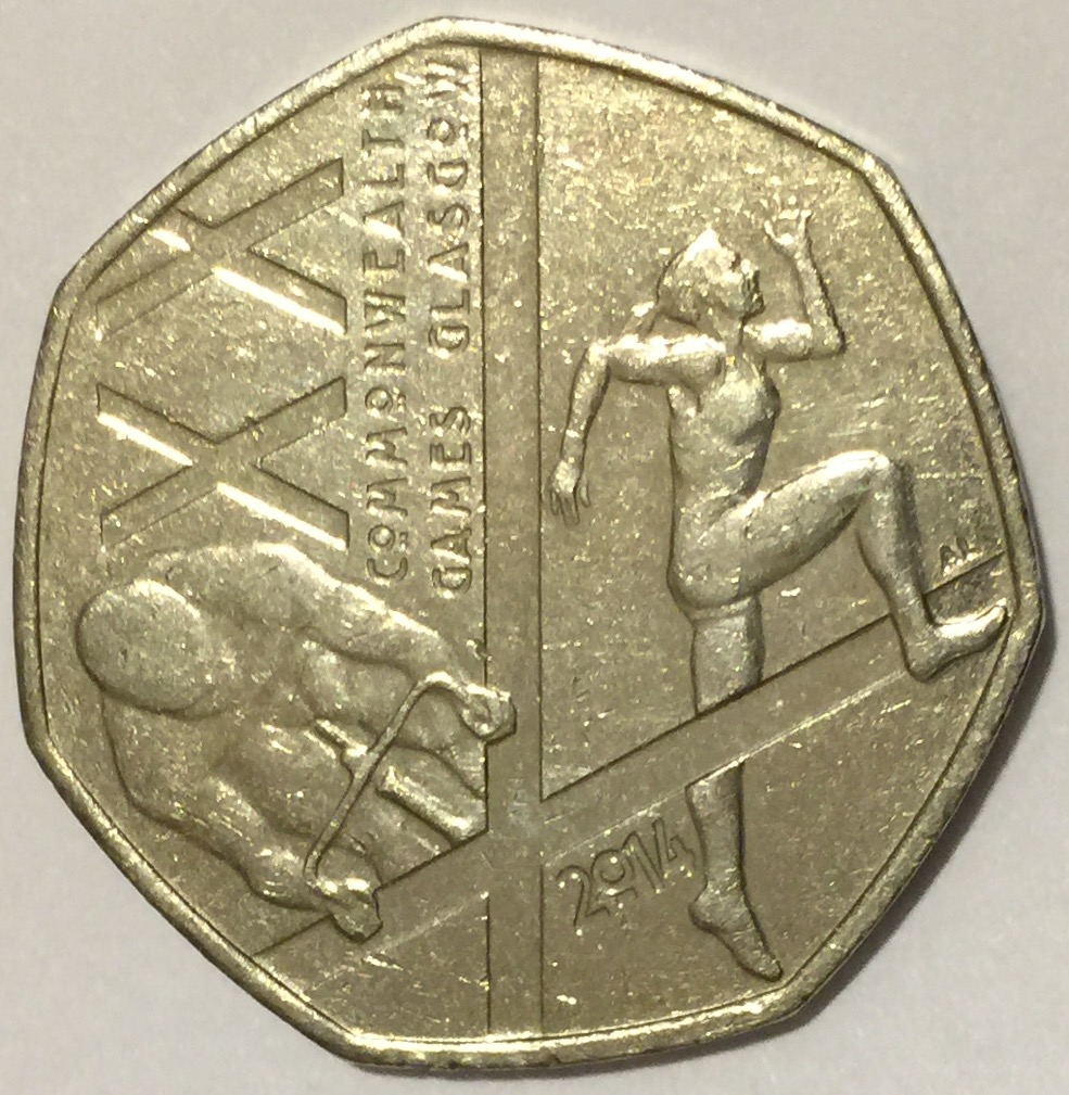 50 Pence, 20th Commonwealth Games Glasgow, ft Athletics and Cycling, 2014