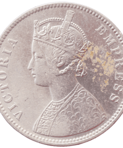 One Rupees India 1881 Queen Victoria Emperor Silver Coin Calcutta Mint