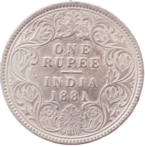 One Rupees India 1881 Queen Victoria Emperor Silver Coin Bombay Mint