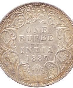 One Rupees India 1885 Rare Queen Victoria Emperor Silver Coin B Rised