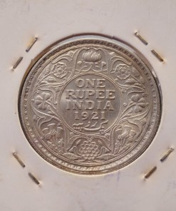 One Rupee India 1921 Rare Date of George V Silver Coin UNC