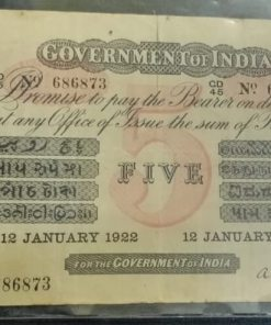 5 Rupees George V 12 January 1922 Super Rare Note Collection British India Notes