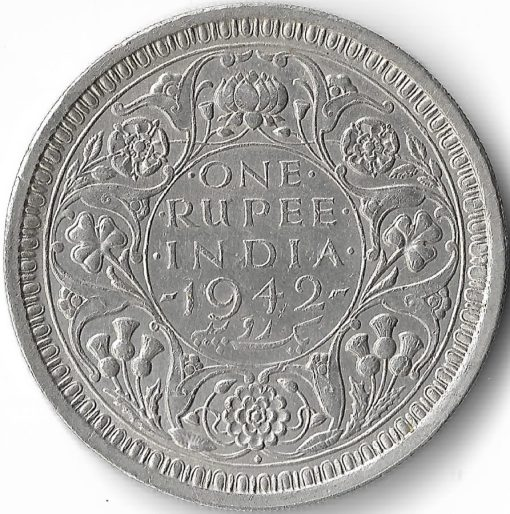 One Rupees India 1942 George VI King Emperor Silver Coin #7