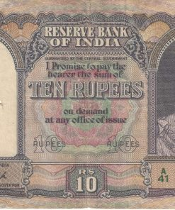 10 Rupees of King George VI signed by C.D. Deshmukh Second Issue