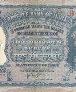 100 Rupees Elephant Note Indian Paper Currency HVR Iyengar