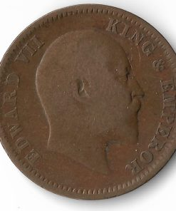 One Quarter Anna India 1908 Edward Vii British India Copper Coin #30