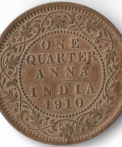One Quarter Anna India 1910 Edward Vii British India Copper Coin #32