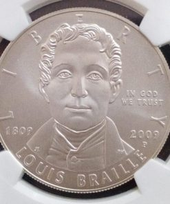 America Silver Dollar 2009 Louis Braille NGC Grading 69 Grade Silver One Dollars