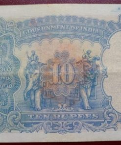 George Fifth Ten Rupees Note Governer J.W. Kelly Top Condition Note
