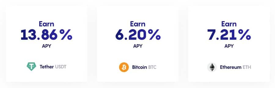 APY for Bitcoin Ethereum and Tether