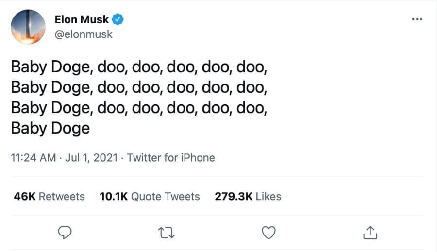 Tweet de Elon sobre Baby Doge