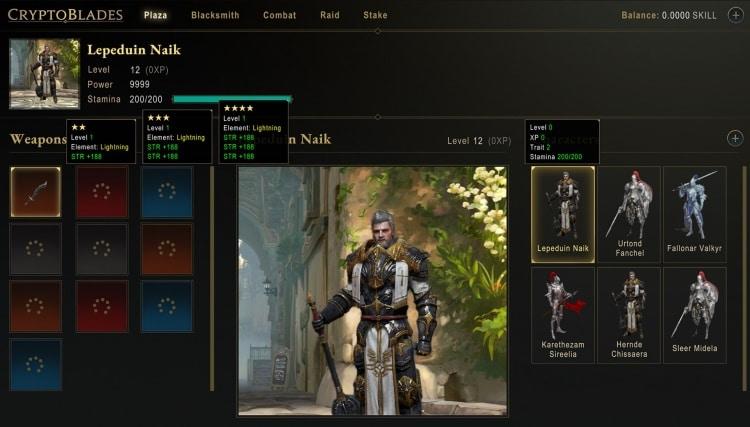 CryptoBlades Warrior Screen