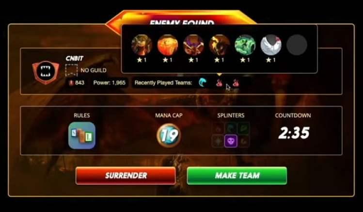 Splinterlands Opponent Battle Screen