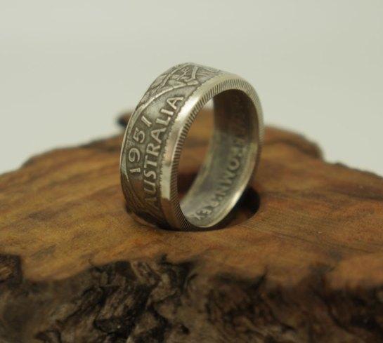 1953-1963-Australian-Florin-silver-coin-ring-9