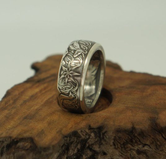 1966-Australian-silver-50-cent-coin-ring-2-size10
