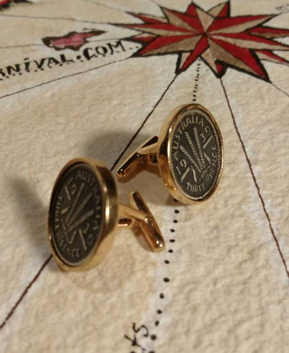 Australian 3 pence coin cuff links