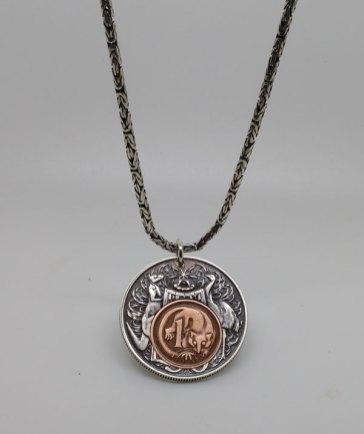 1966-Australian-50-cent-1966-1-cent-silver-chain-1