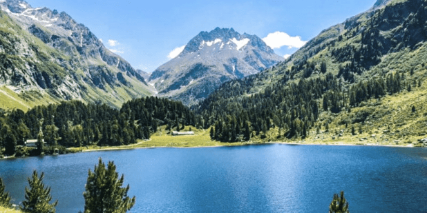 Alpine lake view in Switzerland