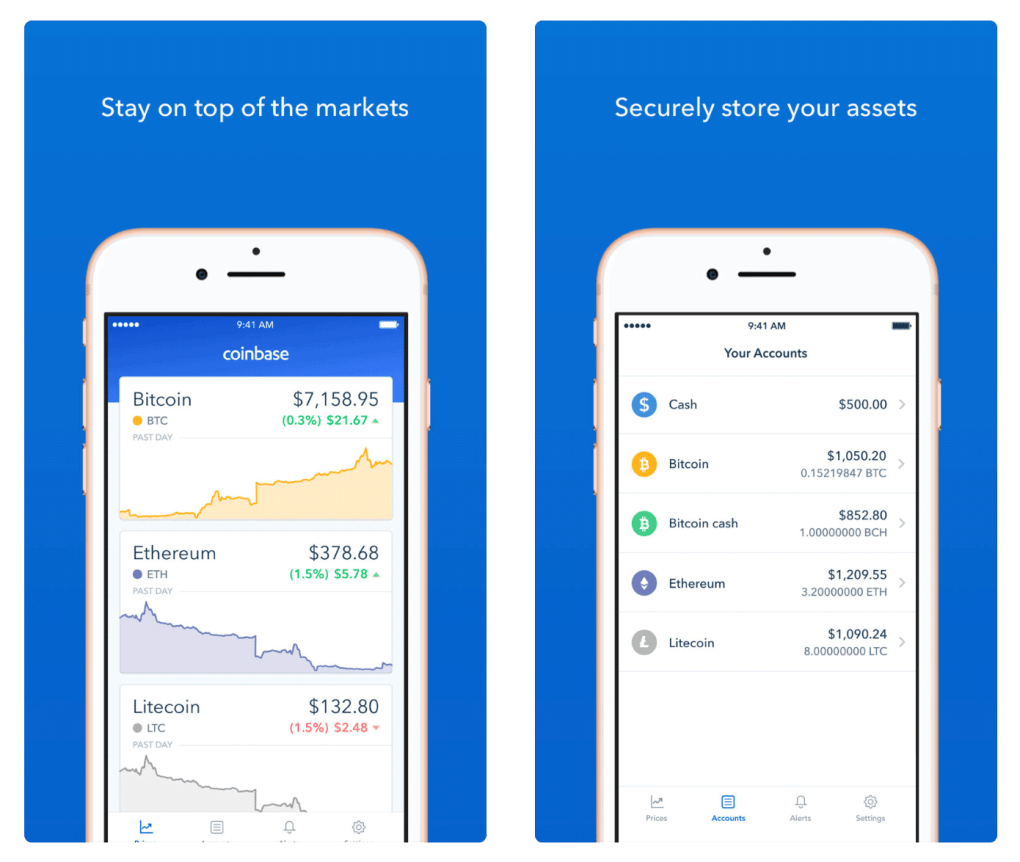 Cryptocurrency App Coinbase lets you stay on top of markets and secure your assets. This image shows Coinbase's market and asset screens.
