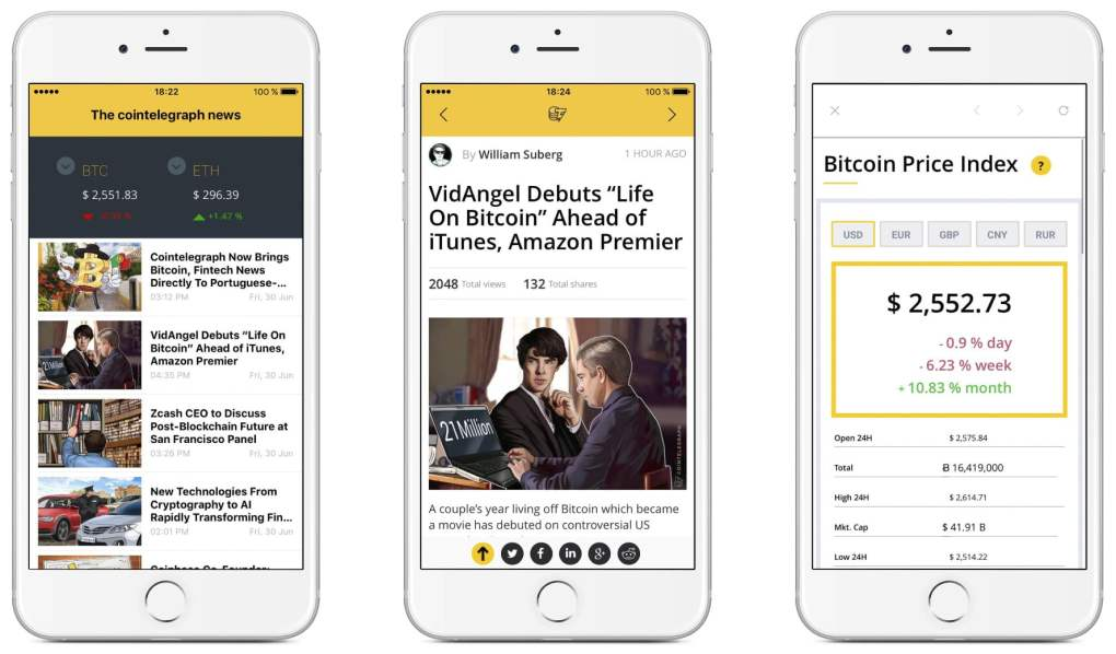 Three screencaps for the cryptocurrency app, CoinTelegraph. The first screen shows news, the second shows a specific news article, and the third shows the bitcoin price index.
