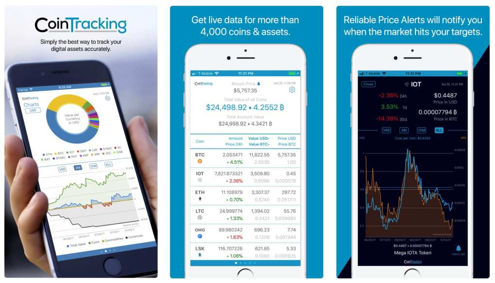 A cryptocurrency app, Cointracking. The first panel shows the app dashboard, the second shows data for coins, and the third shows a price change alert.