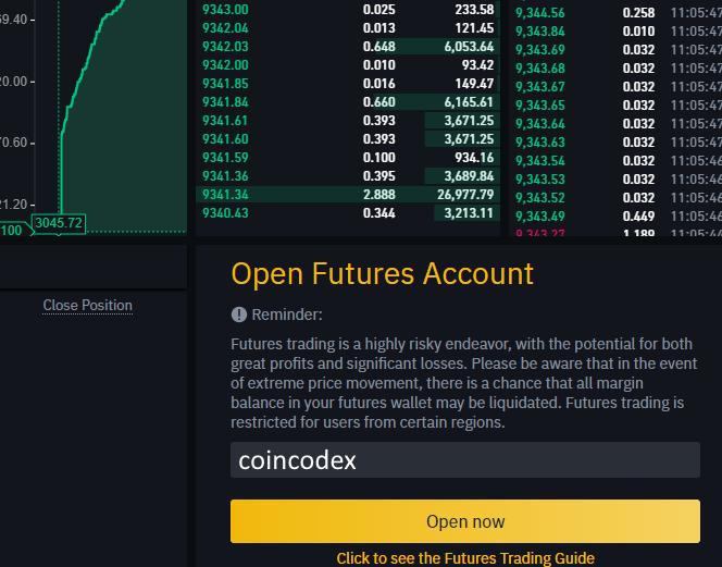 futures bitcoin di trading si apre